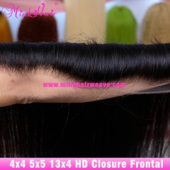 HD Lace Closure 4X4 5X5 13X4 Lace Frontal 150% Density 10A Grade Mink Brazilian Hair