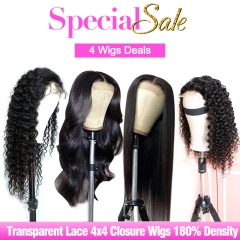 4 Wigs Deals Transparent Lace 4x4 Closure Wig and 13x4 Frontal Wig 180% 200% Density Custom Wig