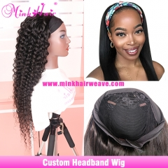 Headband Wig Glueless Human Hair Wigs With Pre-attached Scarf Natural Color 180% Density Custom Wig