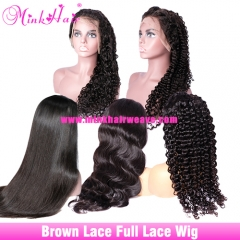 10A Full Lace Wig Brown Lace 150% 180% Density With Baby Hair Mink Brazilian Human Hair Wig