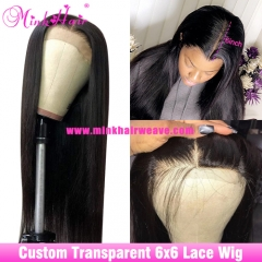 10A Transparent Lace 6x6 Closure Wig 180% 200% Density Natural Color