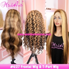 #4/27 Transparent 13x4 Lace Front Wig and T-Part Wig 150% 180% Density Ombre Colored Wig