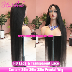 New Custom 34inch 36inch 38inch Frontal Wig 250% Density Transparent Lace and HD lace